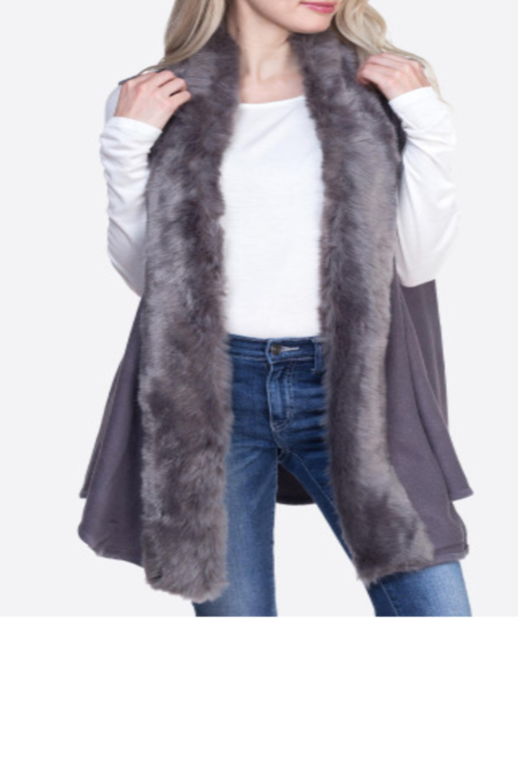 Patricia's Presents Faux Fur Trim Grey Vest - Main Image