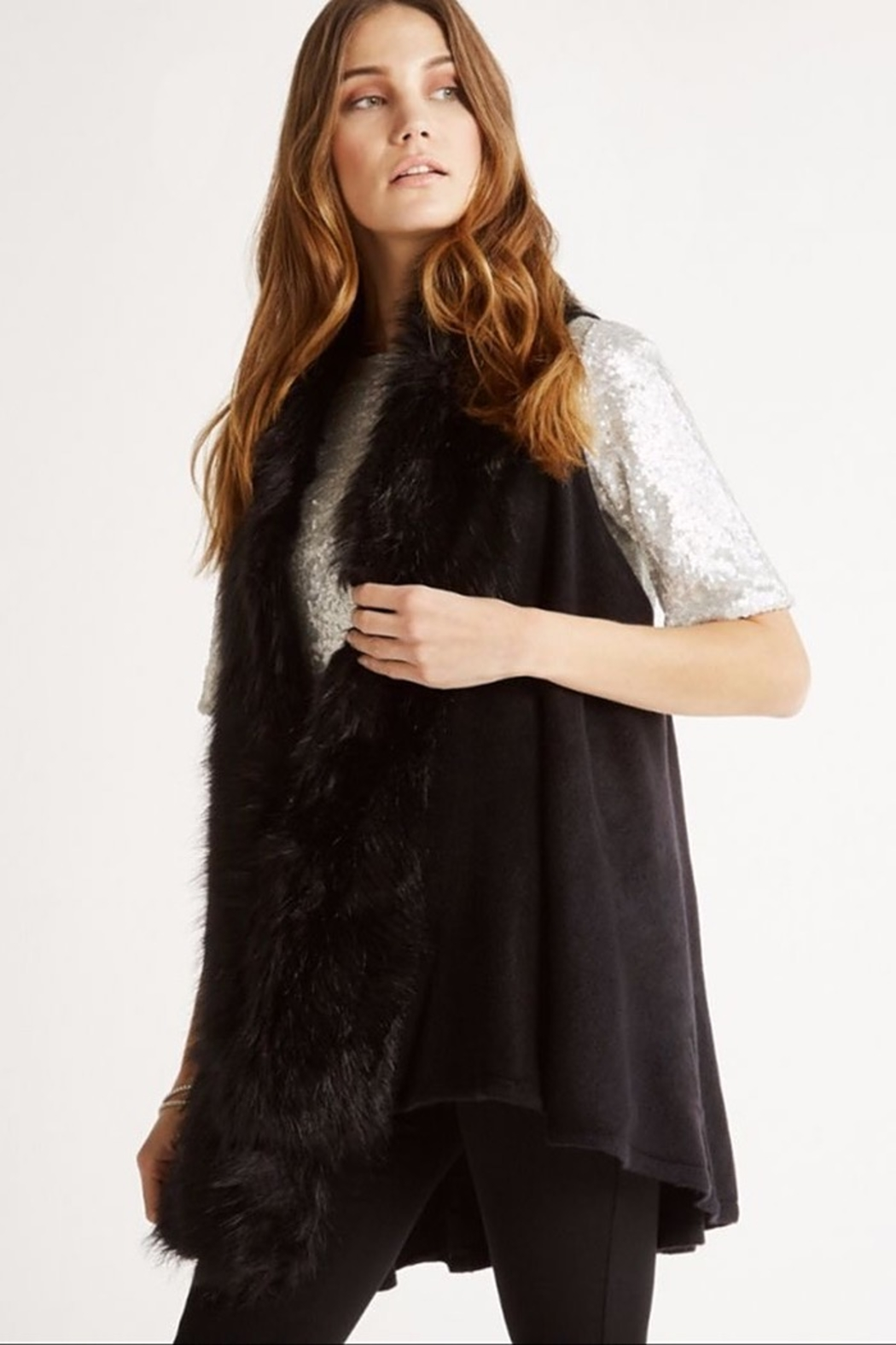 Apricot Faux Fur Trim Swing Vest - Main Image