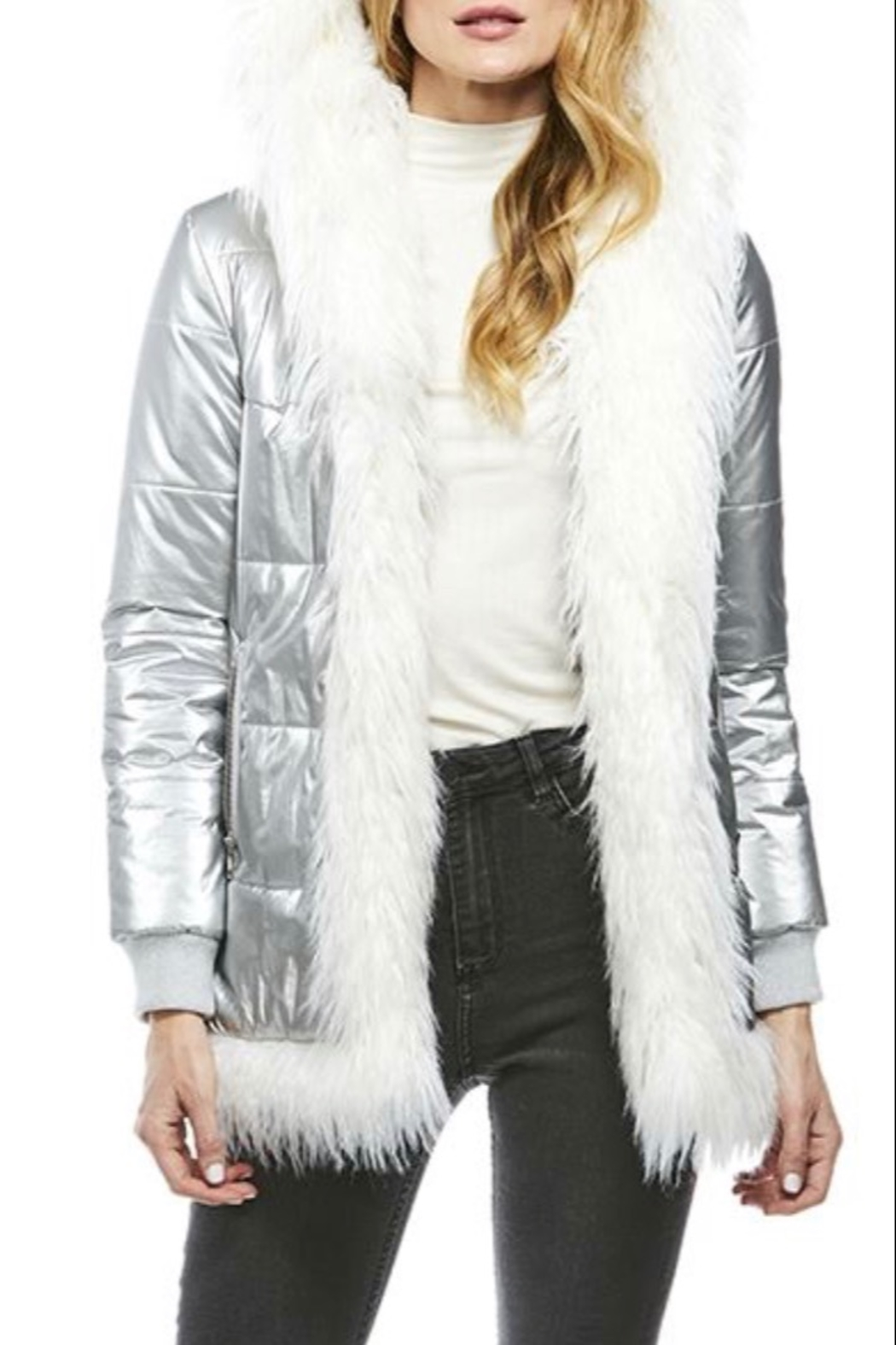 Fabulous Furs Faux Fur Trimmed Puffer Coat - Front Cropped Image
