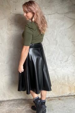 Fate + Fortune Faux Leather Belted Midi A-Line Skirt - Alternate List Image