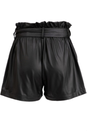 Fashionomics Faux Leather Belted Shorts - Side cropped