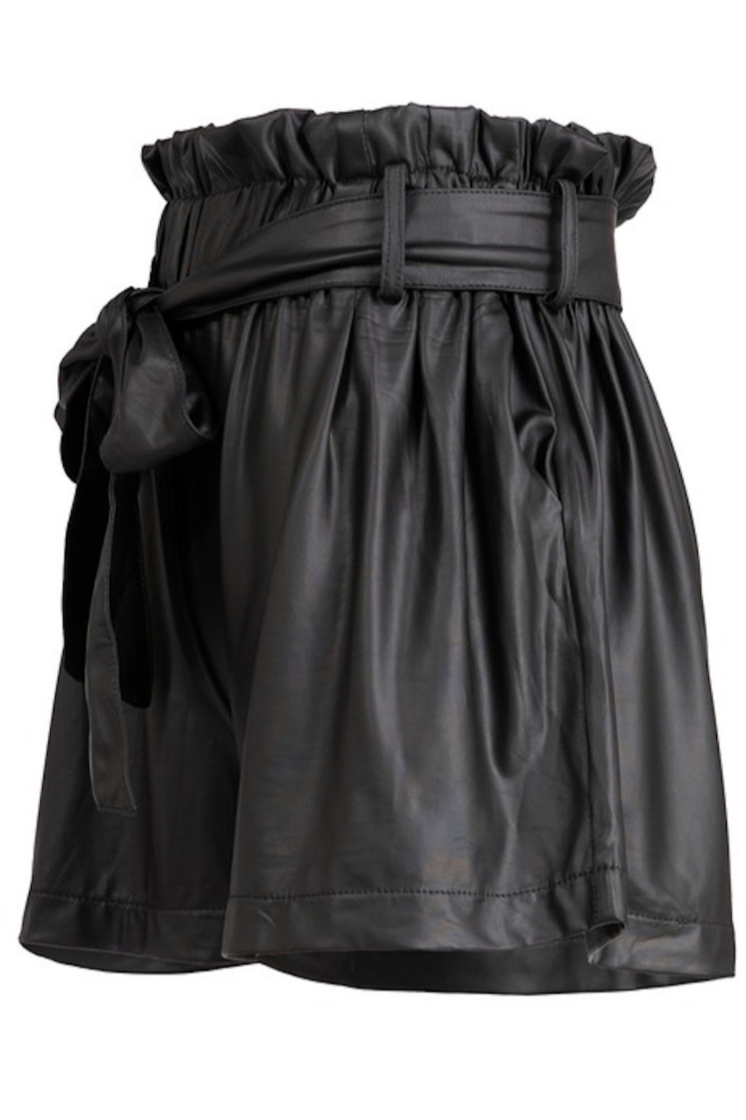 Fashionomics Faux Leather Belted Shorts - Front Full Image