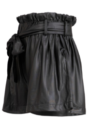 Fashionomics Faux Leather Belted Shorts - Front full body