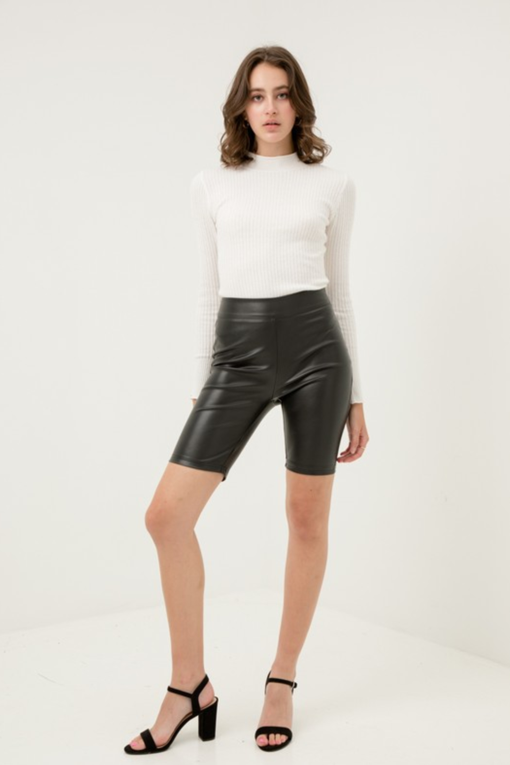 Love Tree Faux Leather Bike Short - Side Cropped Image