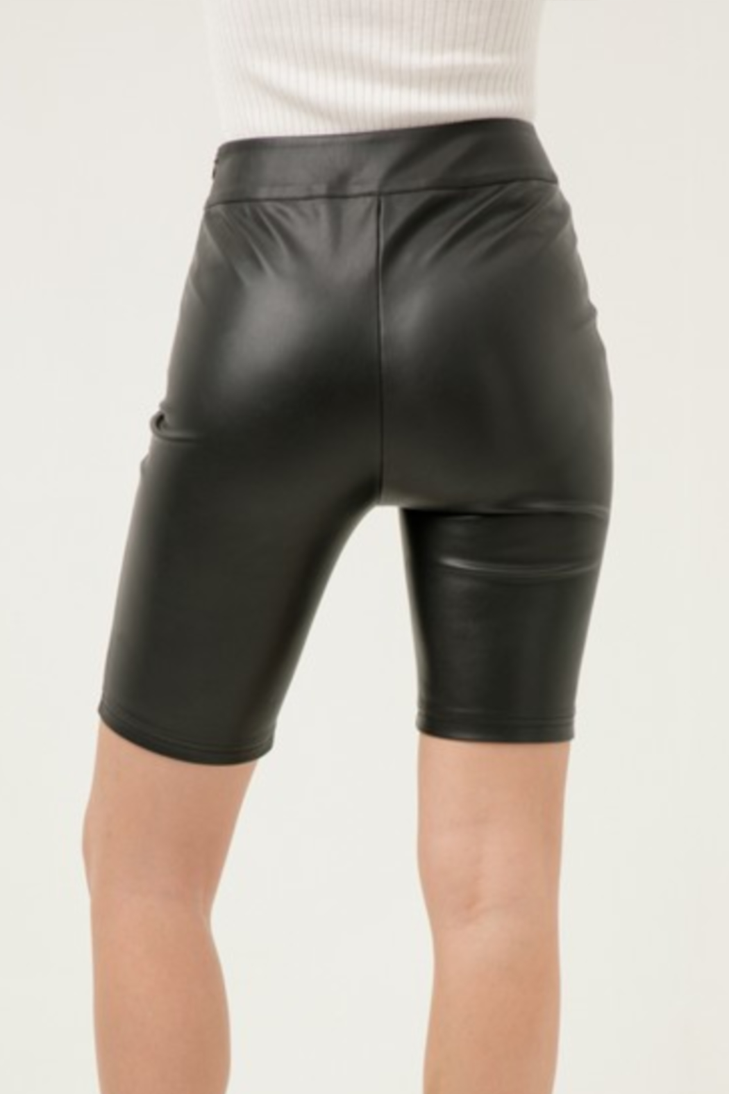 Love Tree Faux Leather Bike Short - Front Full Image
