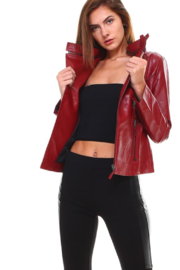 Olivaceous Faux Leather Biker Jacket - Front cropped