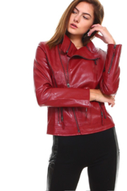 Olivaceous Faux Leather Biker Jacket - Front full body