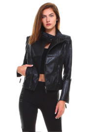 Cezele Faux Leather Biker Jacket - Product Mini Image