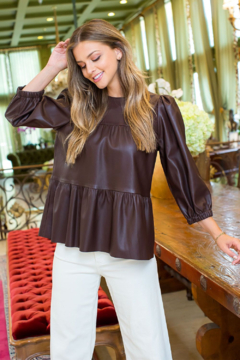 Thml Faux Leather Blouse - Product List Image