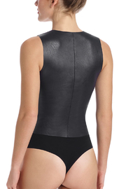 Commando Faux Leather Bodysuit - Front full body