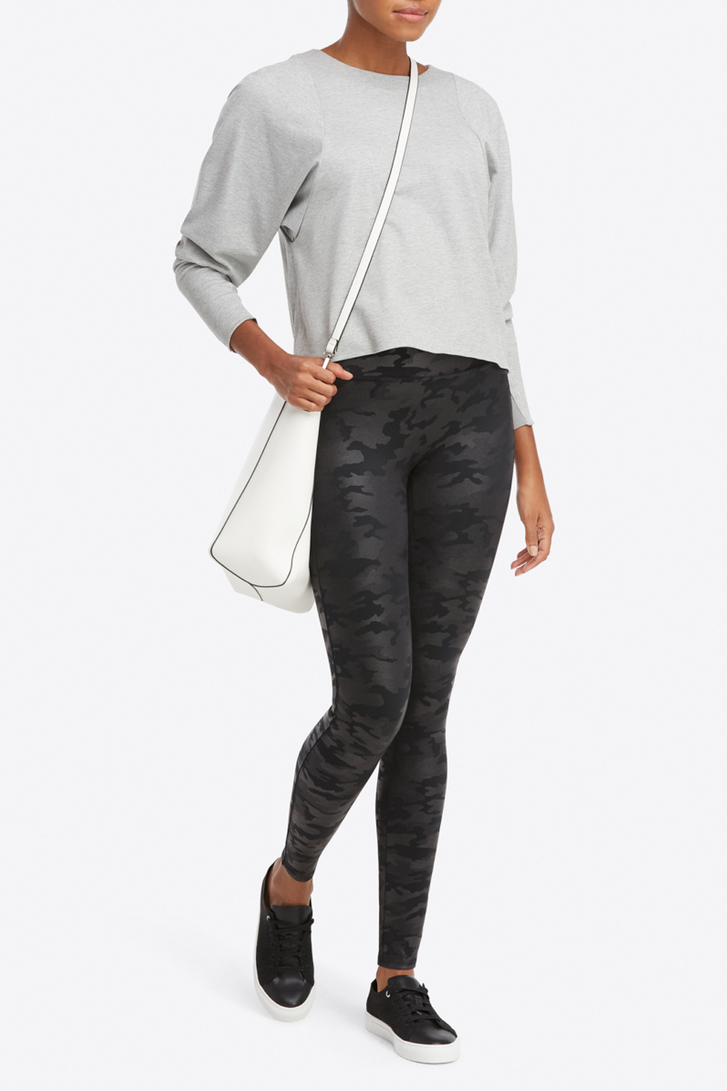 Spanx Faux Leather Camo Leggings - Back Cropped Image