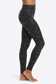 Spanx Faux Leather Camo Leggings - Front full body