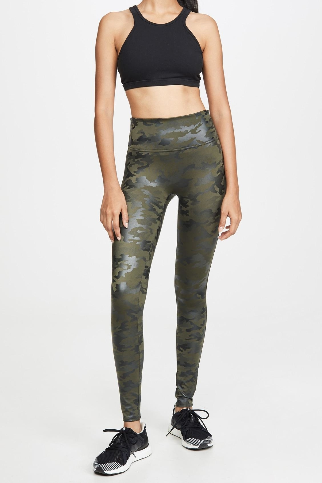 Spanx Faux-Leather Camo Leggings - Front Cropped Image