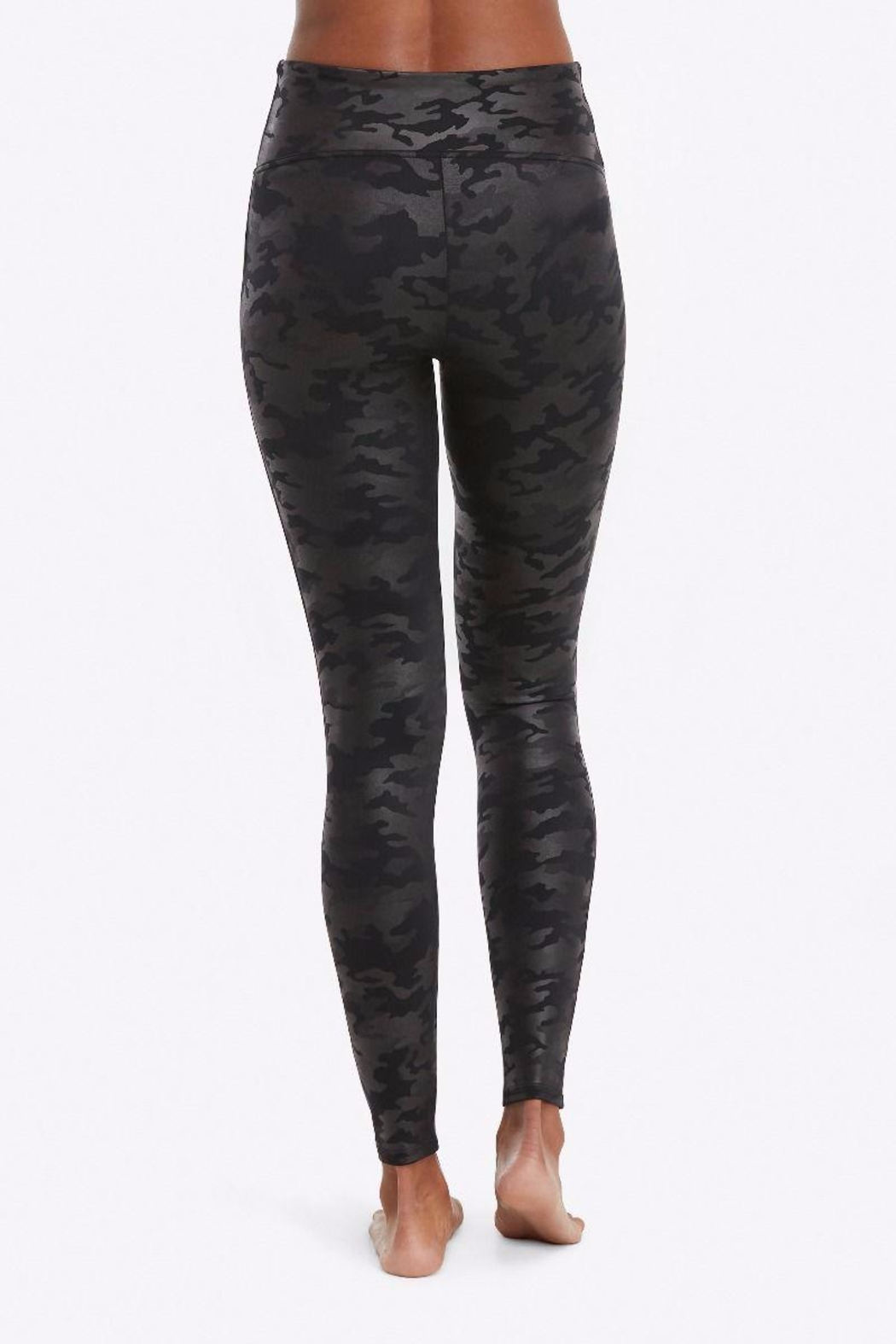 Spanx Faux-Leather Camo Leggings - Front Full Image