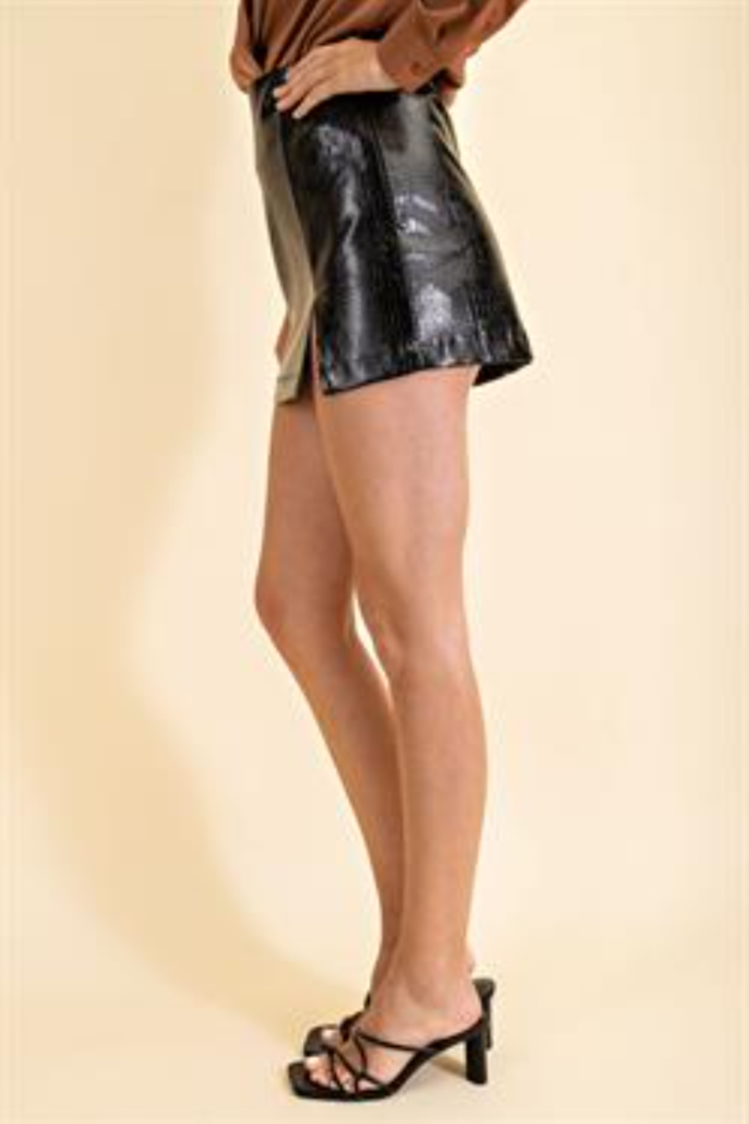 Glam Faux Leather Croco Skirt - Side Cropped Image