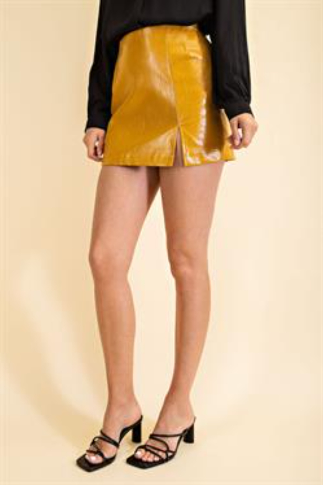 Glam Faux Leather Croco Skirt - Front Cropped Image