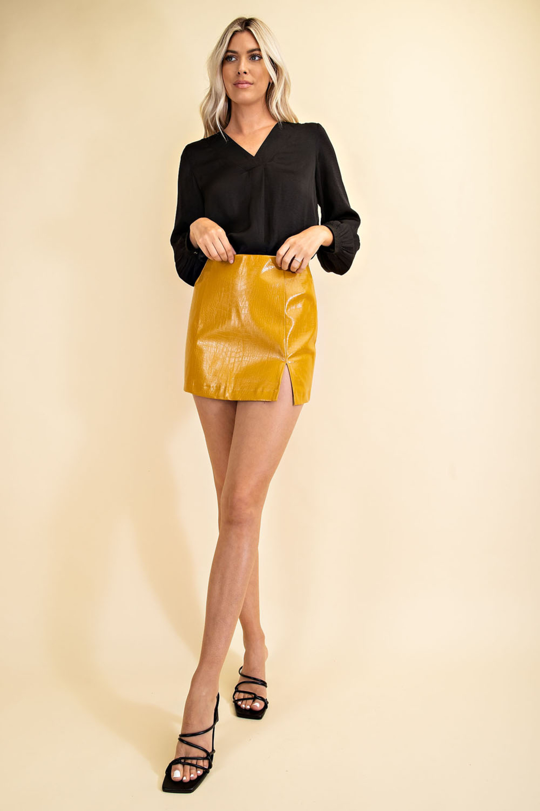 Glam Faux Leather Croco Skirt - Front Full Image