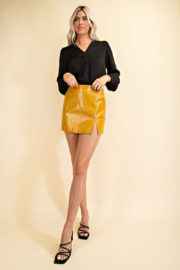 Glam Faux Leather Croco Skirt - Front full body