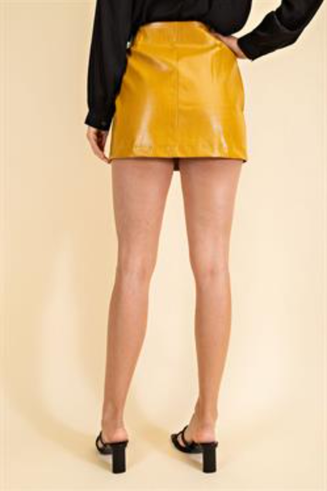 Glam Faux Leather Croco Skirt - Back Cropped Image