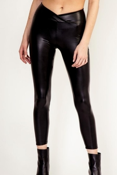 Polly & Esther Faux-Leather Cropped Leggings - Product List Image