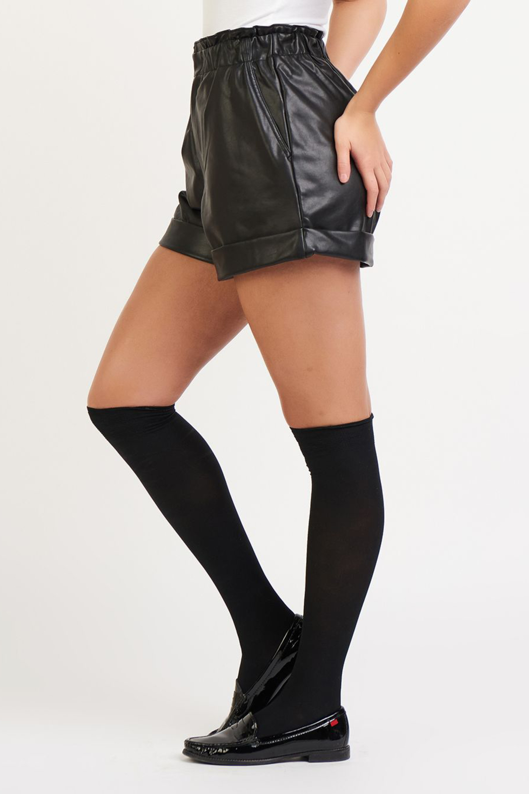 Dex Faux Leather Cuffed Shorts - Front Full Image