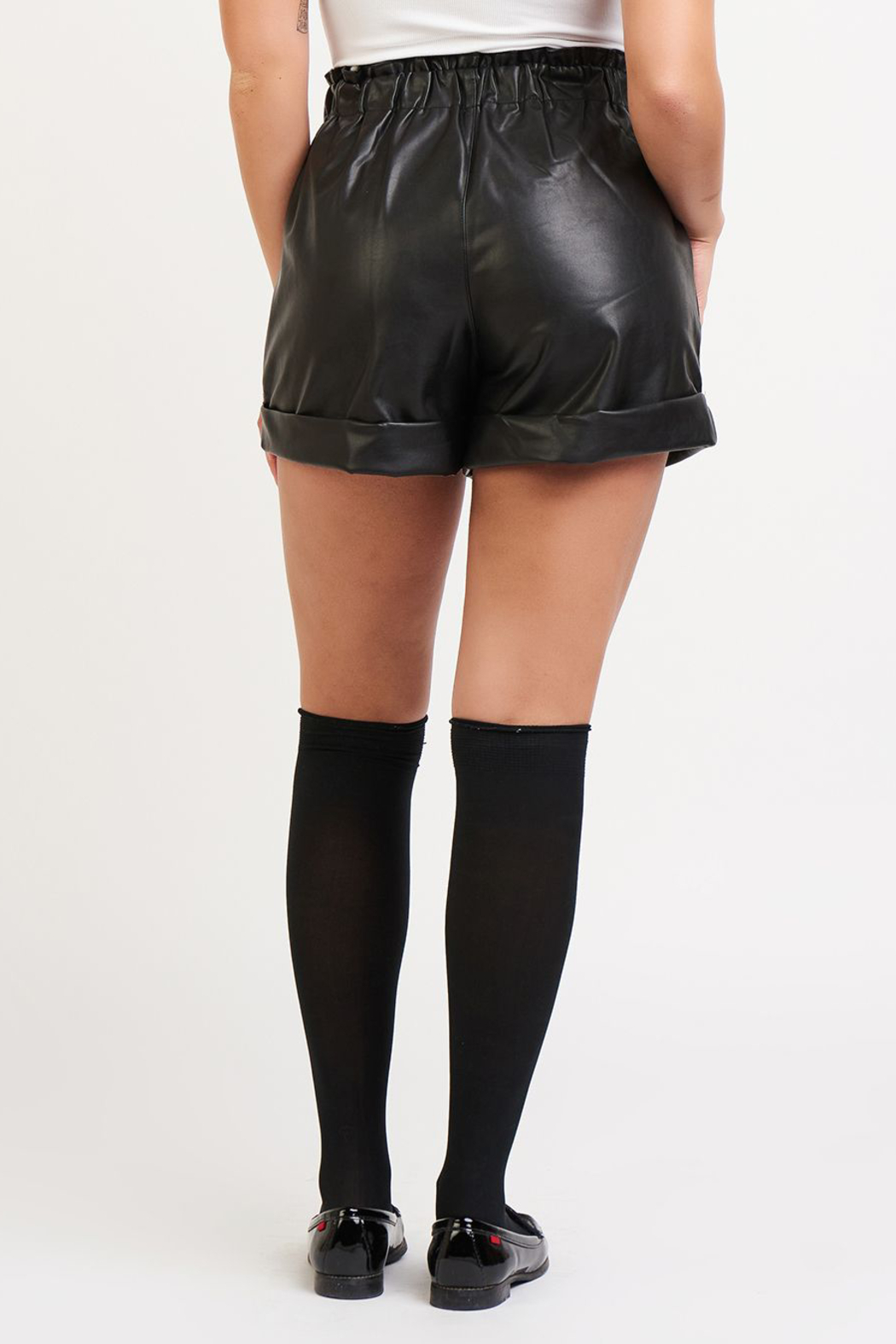 Dex Faux Leather Cuffed Shorts - Side Cropped Image
