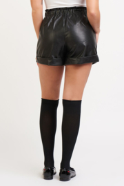 Dex Faux Leather Cuffed Shorts - Side cropped