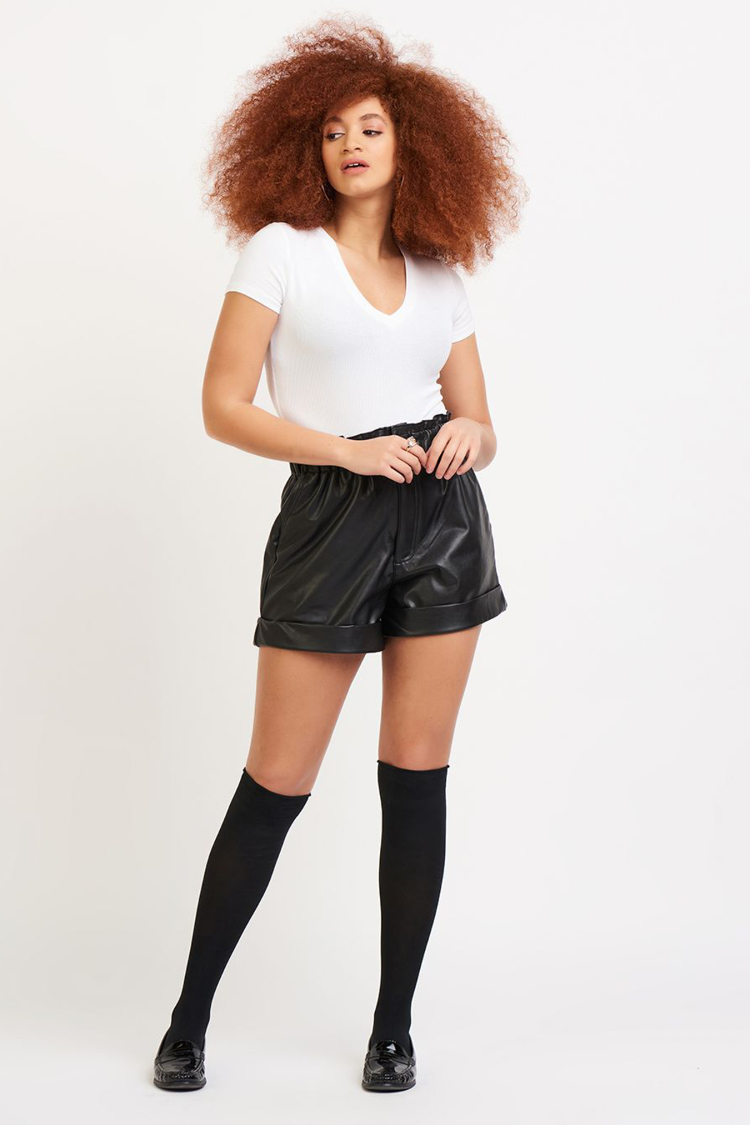 Dex Faux Leather Cuffed Shorts - Back Cropped Image