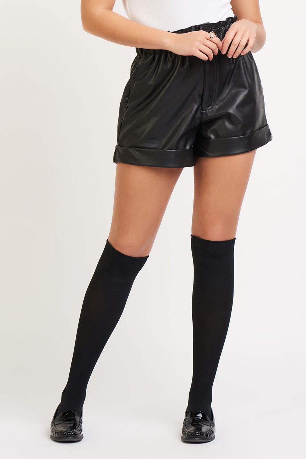 Dex Faux Leather Cuffed Shorts - Main Image