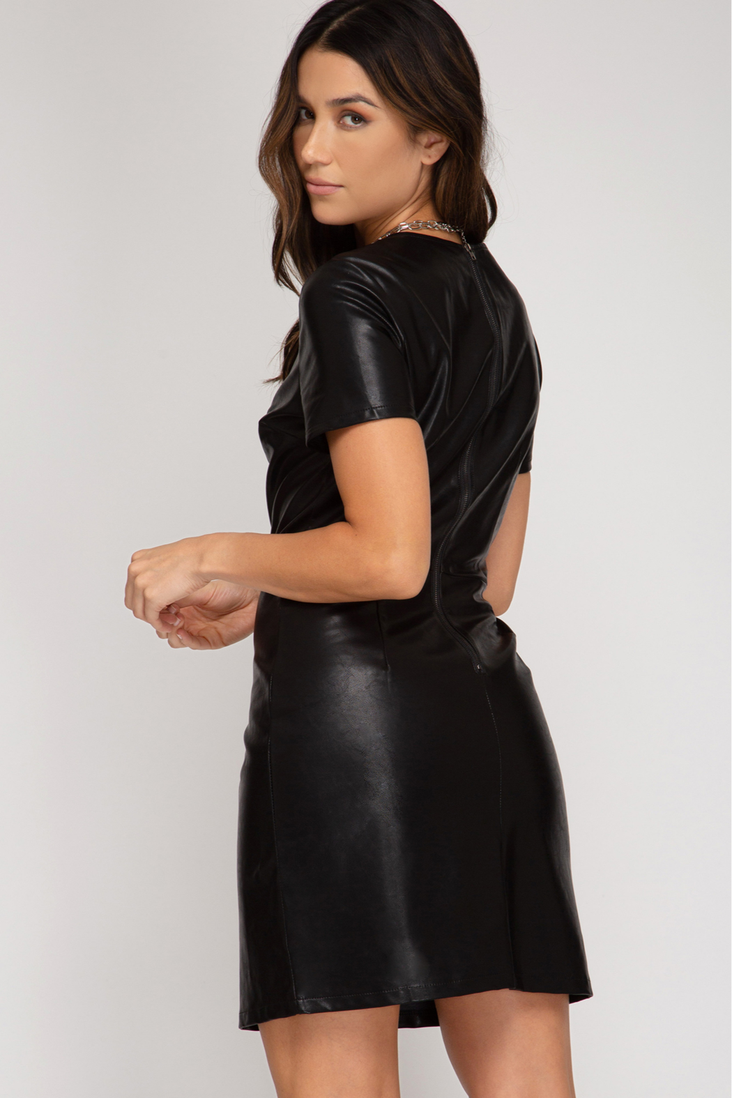 She + Sky Faux Leather Dress - Front Full Image
