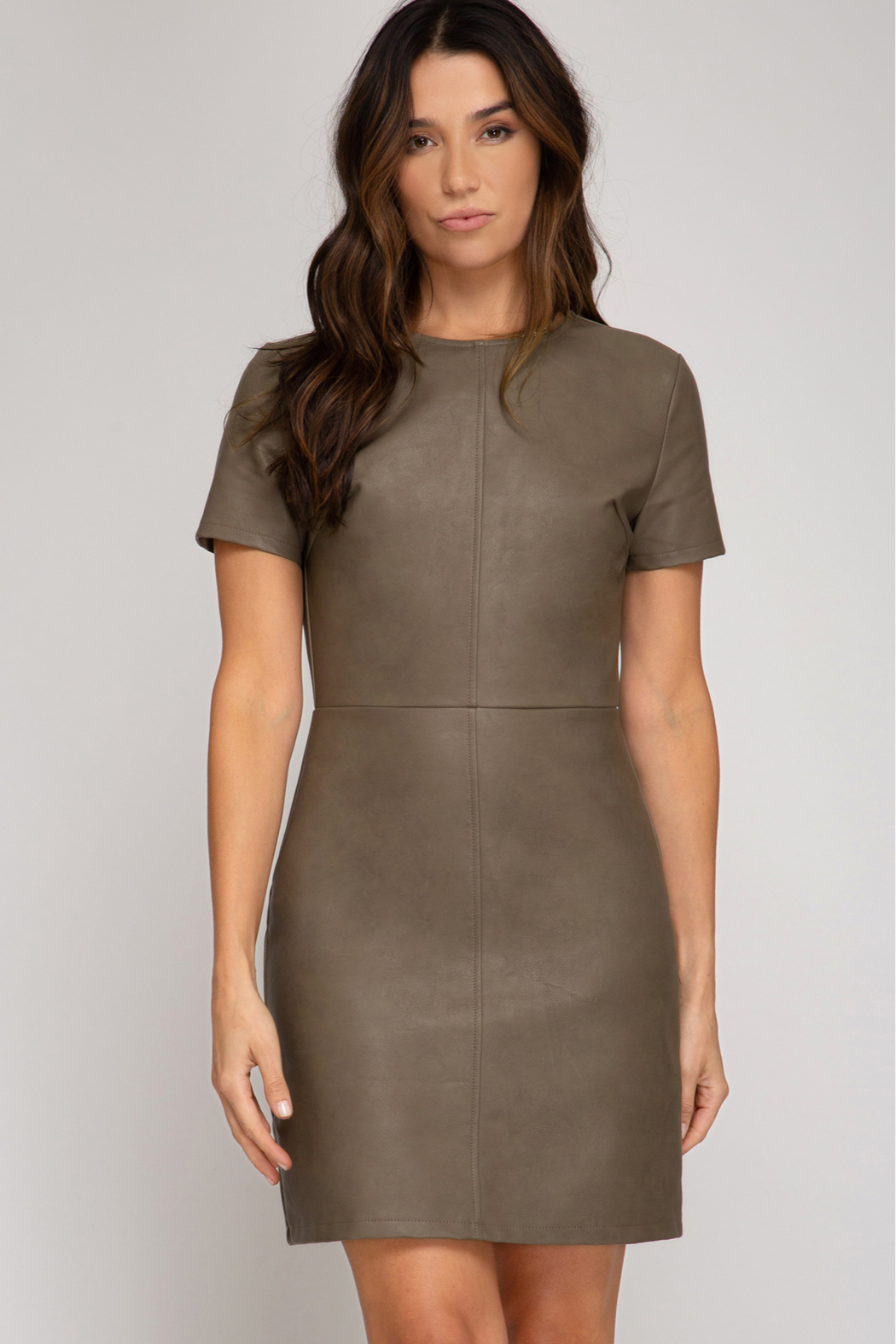 She + Sky Faux Leather Dress - Front Cropped Image