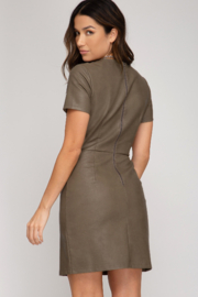 She + Sky Faux Leather Dress - Front full body