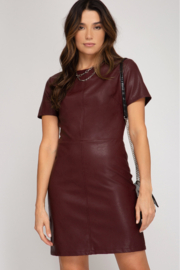 She + Sky Faux Leather Dress - Front cropped