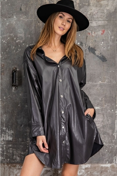 Easel  Faux Leather Dress Trench Jacket - Product List Image