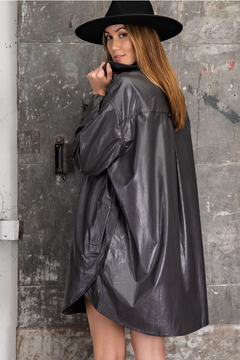 Easel  Faux Leather Dress Trench Jacket - Alternate List Image
