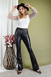 eesome Faux Leather Flare Pants - Product Mini Image