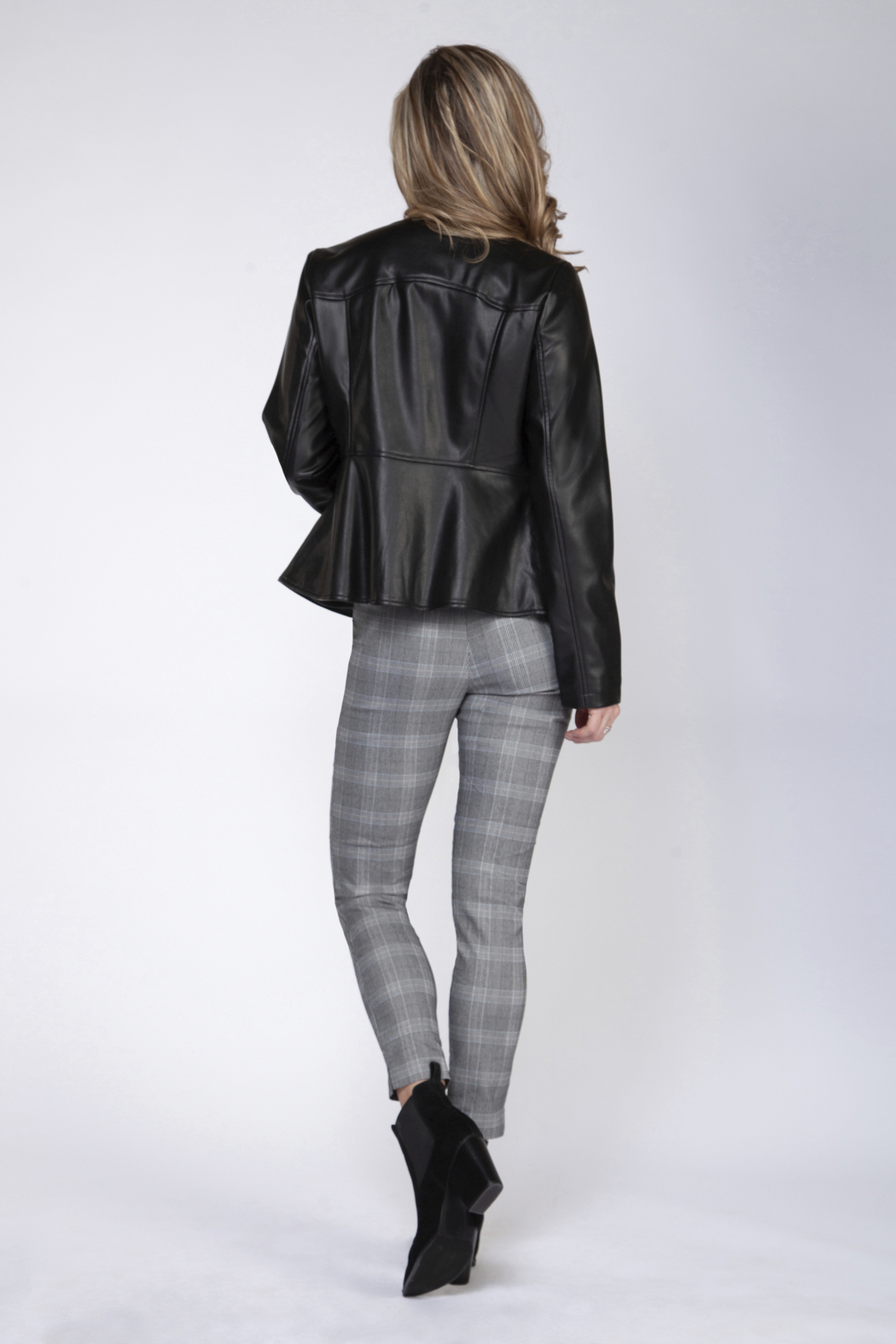 Black Tape/Dex Faux Leather Front Zip Jacket - Front Full Image