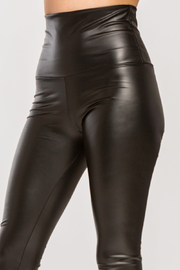 Lyn-Maree's  Faux Leather High Waist Leggings - Front full body