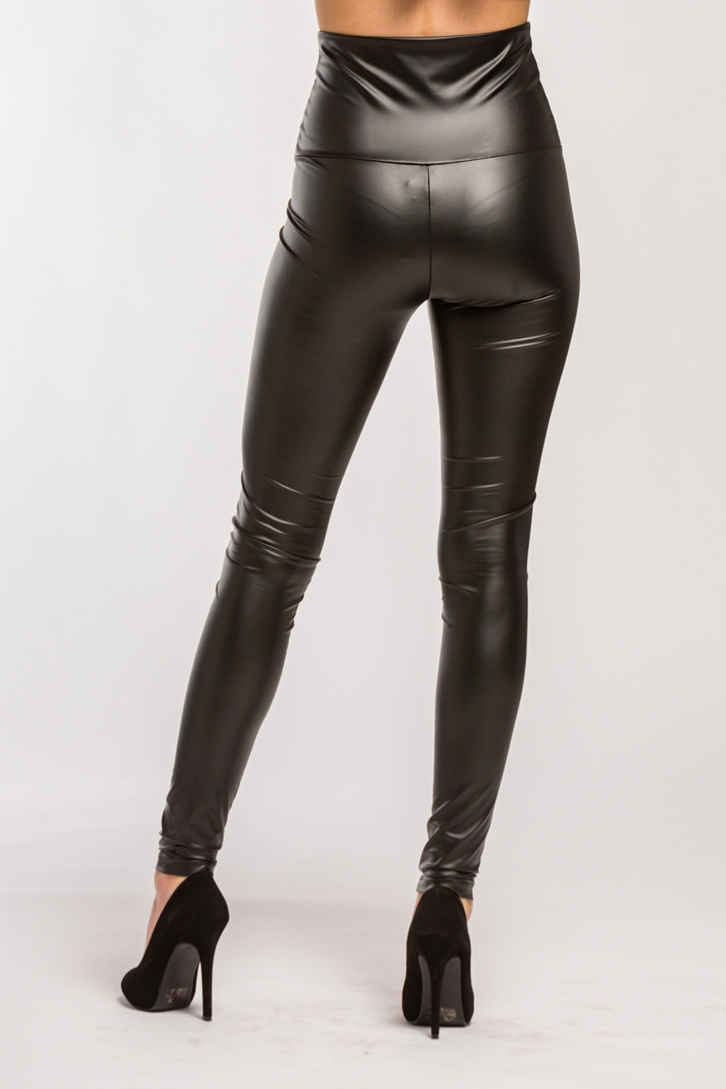 Lyn-Maree's  Faux Leather High Waist Leggings - Side Cropped Image