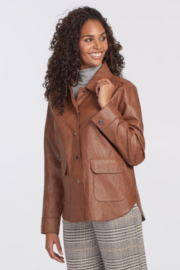 tribal  Faux Leather Jacket with Pockets - Front cropped