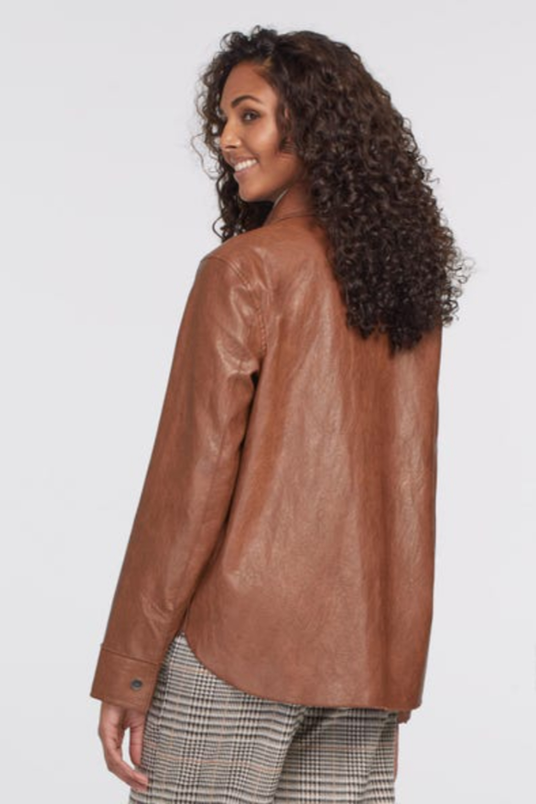 tribal  Faux Leather Jacket with Pockets - Front Full Image