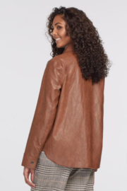tribal  Faux Leather Jacket with Pockets - Front full body