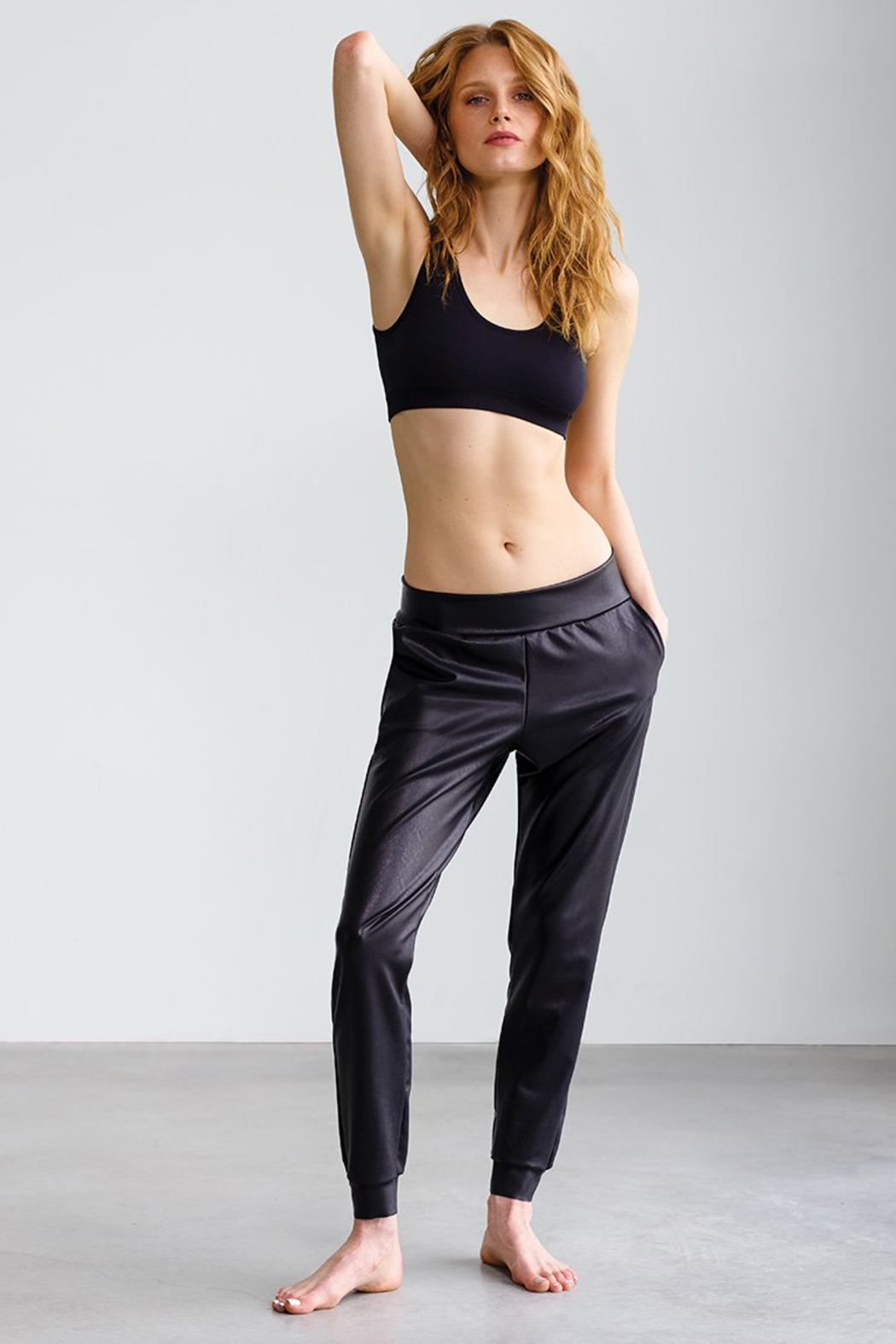 Commando  Faux Leather Jogger - Front Cropped Image