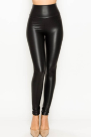 Olivaceous  Faux Leather Leggings - Product Mini Image