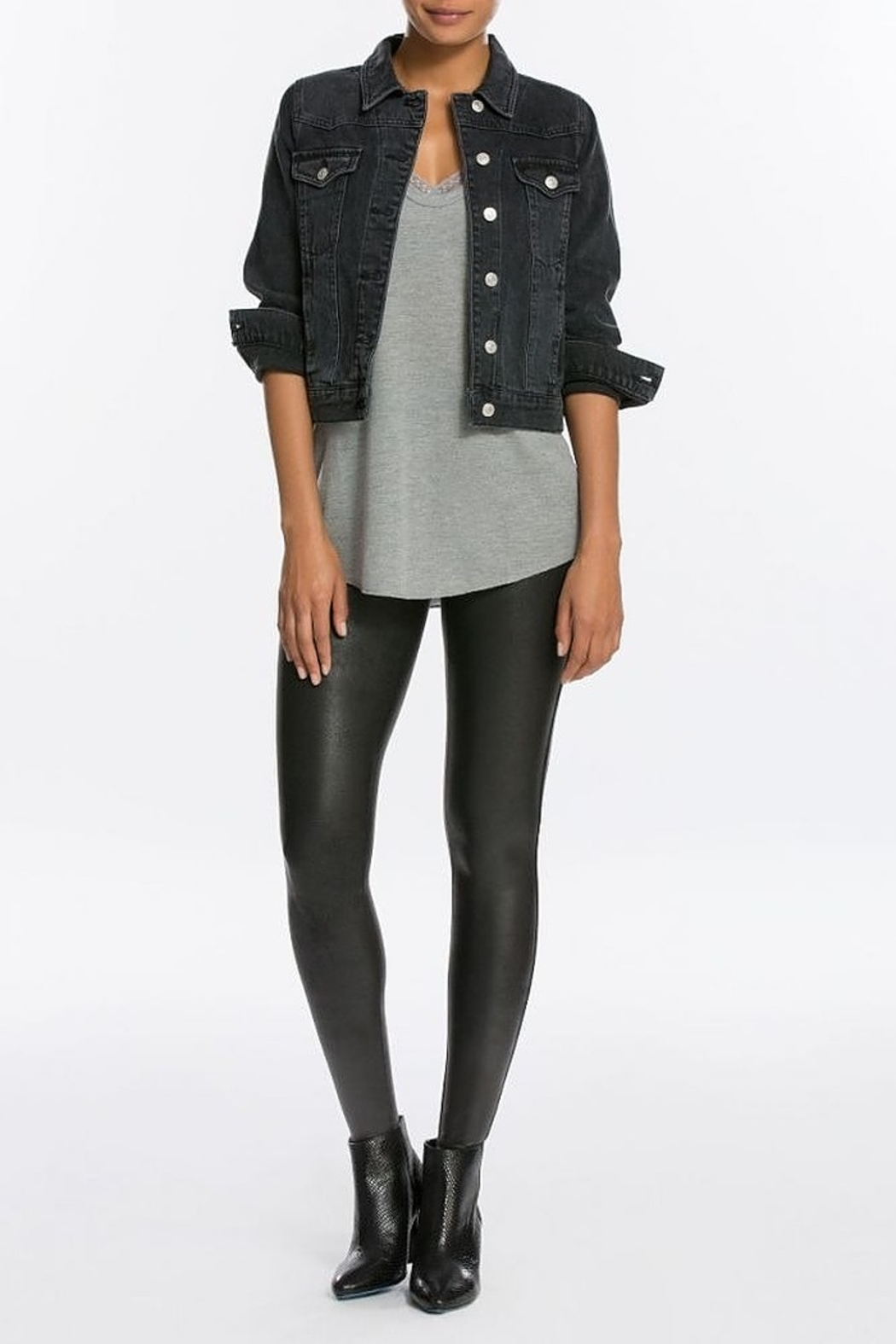 Spanx Faux Leather Leggings - Front Cropped Image