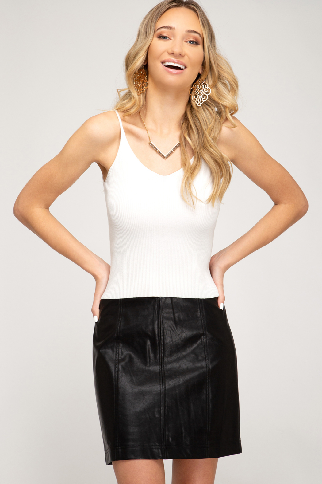 She + Sky Faux Leather Mini Skirt - Main Image