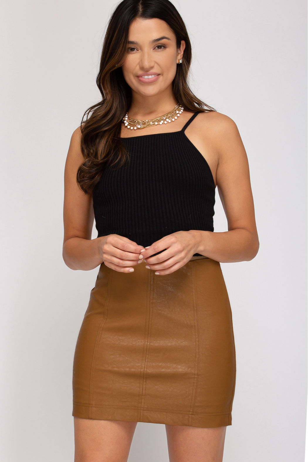 She + Sky Faux Leather Mini Skirt - Front Cropped Image