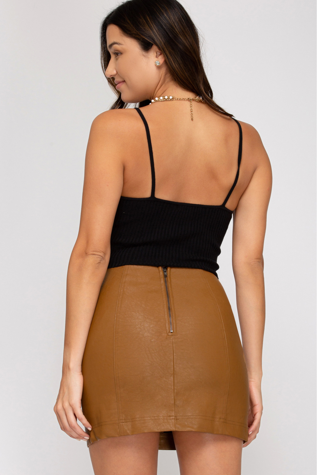 She + Sky Faux Leather Mini Skirt - Front Full Image
