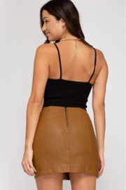 She + Sky Faux Leather Mini Skirt - Front full body