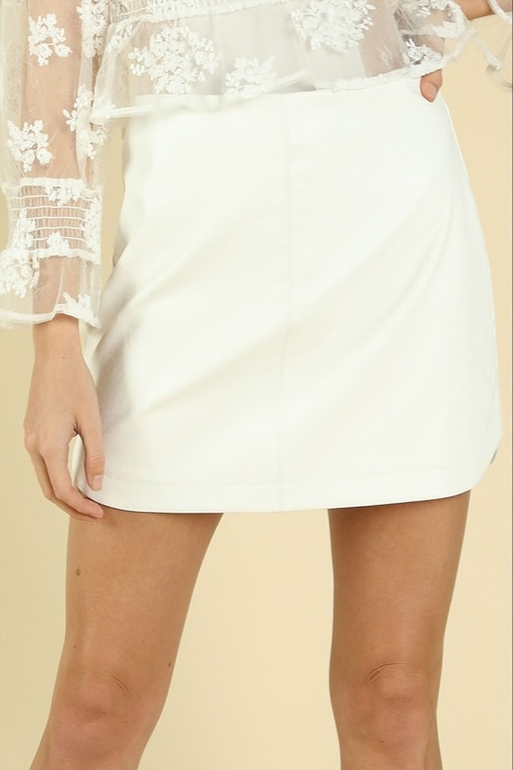 Wild Honey Faux Leather Mini Skirt - Front Cropped Image